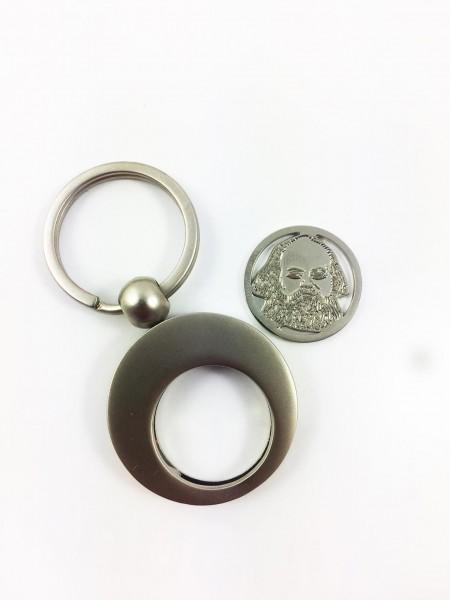Karl Marx Schlüsselanhänger + Chip silber